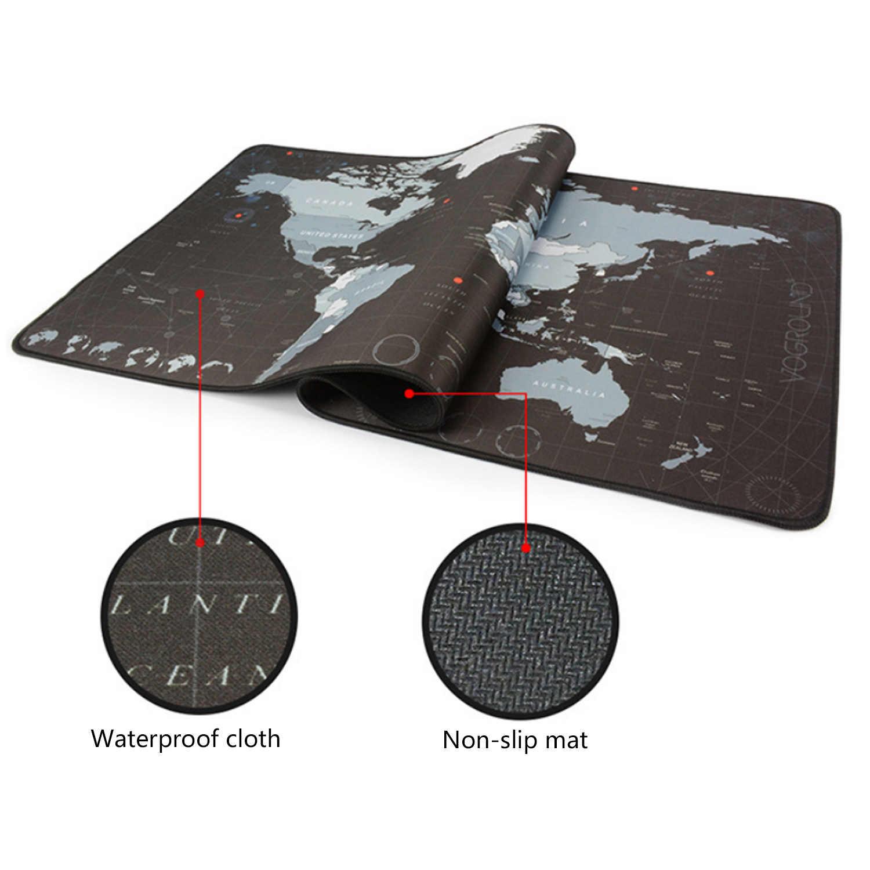 Elisona 300x700x2mm mode imperméable à l'eau carte du monde motif tapis de souris tapis de souris tapis de Table pour dortoir de bureau à la maison école