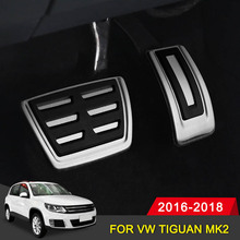 Aluminum Car Accelerator Gas Pedal Brake Pedal Footrest Pedal Plate Cover AT For VW Tiguan MK2 2016 2017 2018 Car Accessoriess