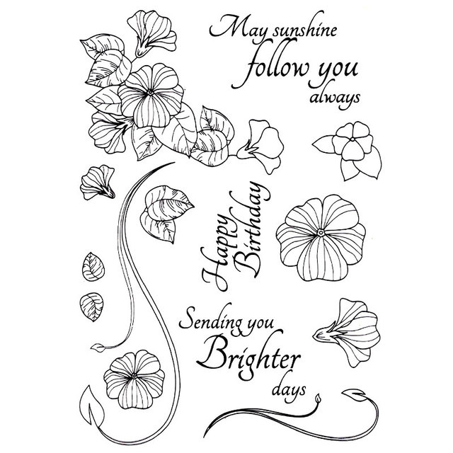 MANY SUNSHINE FOLLOW YOU ALWAYS Scrapbook DIY photo cards account rubber stamp clear stamp transparent stamp Handmade card stamp
