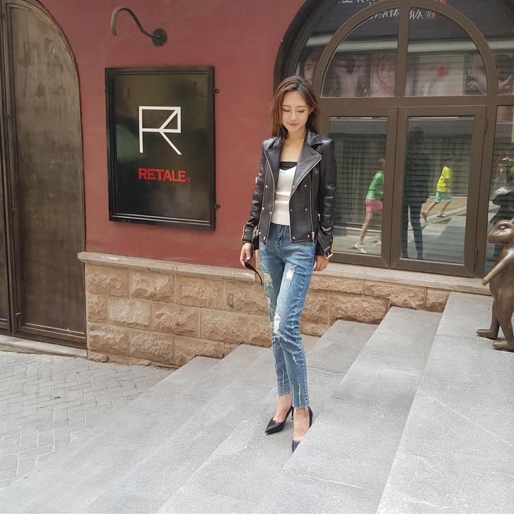 Veste De Femmes Mouton Cuir En Version La Nouvelle 2017 Mince Coréenne Court YIqFU8xw