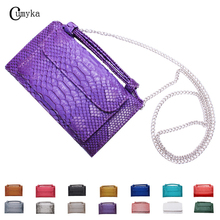 CUMYKA Fashion New Color Clutch Snake Genuine Leather Shoulder Bag Chain Messenger Long Purse Ladies Hard Crossbody Handbag