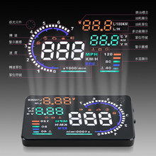 A8 5.5″ Auto Car Head-Up Display HUD Projector OBD II Vehicle Speeding Warning MPH with Anti-slip Pad Fuel Speedometers