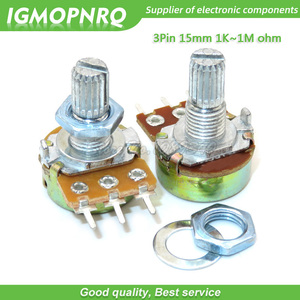 5pcs WH148 3pin 15MM B1K B2K B5K B10K B20K B50K B100K B250K B500K B1M Potentiometer 15mm With Nuts And Washers 1K 2K 5K 10K
