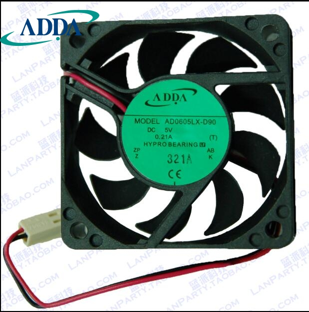цена на ADDA AD0605LX-D90, T DC 5V 0.21A 2-wire 2-pin connector 70mm 60x60x15mm Server Square Cooling fan For