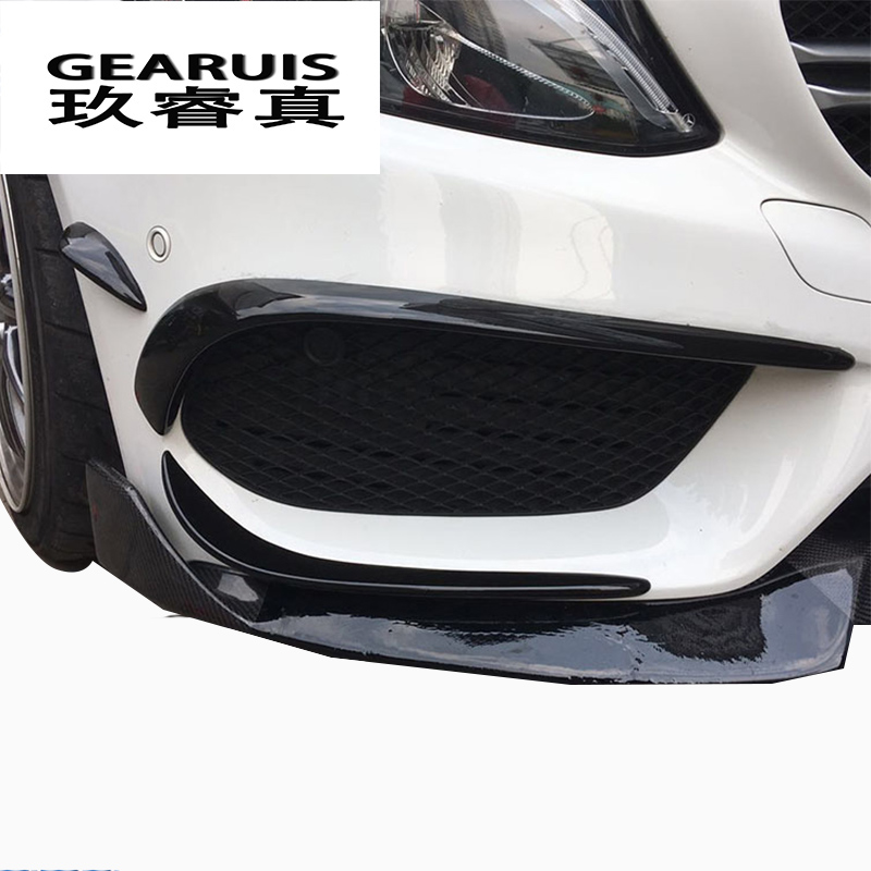 Car styling fog lamp grille slats auto Black fog lights cover Sticker decoration Trim for Mercedes Benz C Class W205 Accessories car seat cover automobiles accessories for benz mercedes c180 c200 gl x164 ml w164 ml320 w163 w110 w114 w115 w124 t124