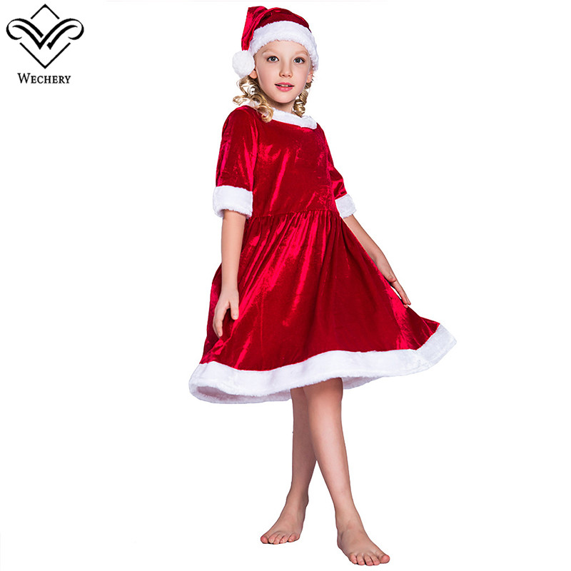 Wechery Girls Christmas Costume Midi Sleeve Dress Red Furry Santa Claus Costumes for Kids Children