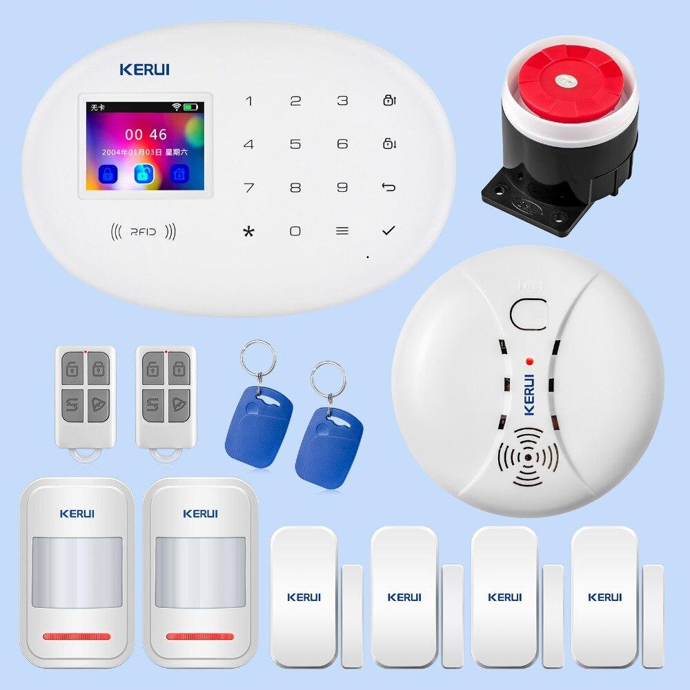 KERUI Wireless bezpieczeństwa w domu WIFI GSM GPRS System alarmowy W20 pilot zdalnego sterowania APP karty RFID rozbroić System z 2.4 cal ekran dotykowy TFT o przekątnej