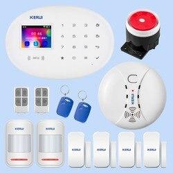KERUI conmutable Idioma WIFI sistema de alarma W20 aplicación inalámbrica de seguridad para el hogar Control remoto Kit de accesorios de alarma de pantalla de 2,4 pulgadas