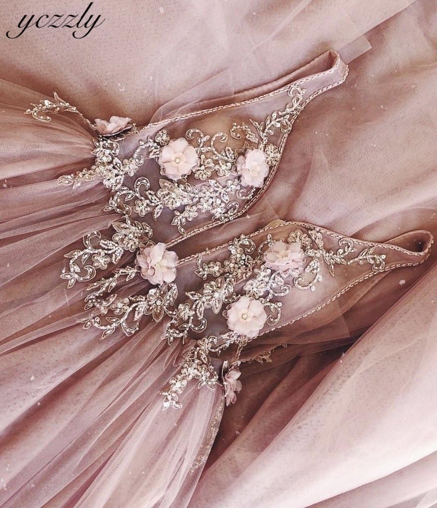 Pink Wedding Dress Sexy A-line V-neck Appliques Flowers Pearls Wedding Gowns Plus Size Long Beach Wedding Dress Robe De Mariee
