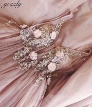 ורוד שמלת כלה סקסי אונליין V צוואר אפליקציות פרחי פניני שמלות כלה בתוספת גודל ארוך חוף חתונה שמלת חלוק דה Mariee