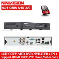 AHD DVR 4 Channel 960P HDMI 1080P 4ch Hybrid AHD DVR HVR NVR Onvif For Security
