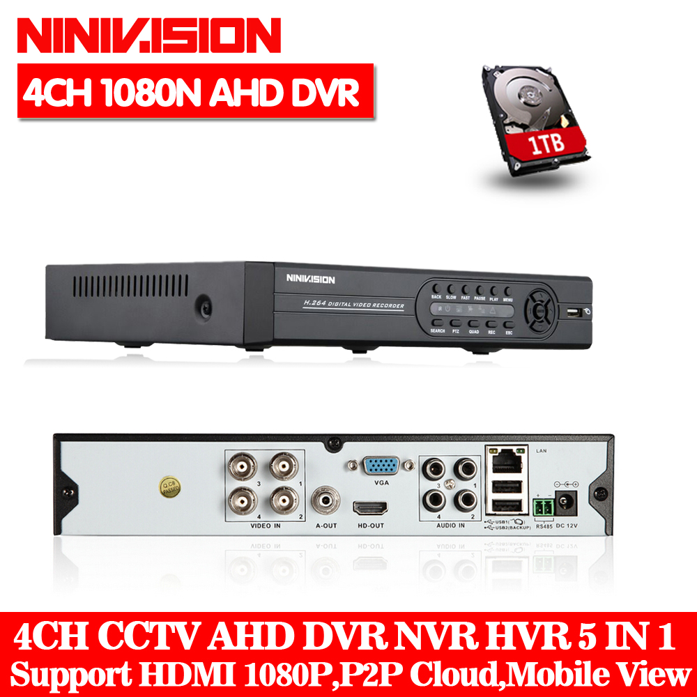 AHD-NH DVR 4 channel HDMI 1080P 960P 720P 4ch Hybrid AHD DVR HVR NVR Onvif for security ip camera P2P function CCTV DVR Recorder ninivision ahd 4 channel 1080p hdmi 1080p 4ch hybrid ahd dvr hvr nvr onvif for security ip camera p2p function cctv dvr recorder