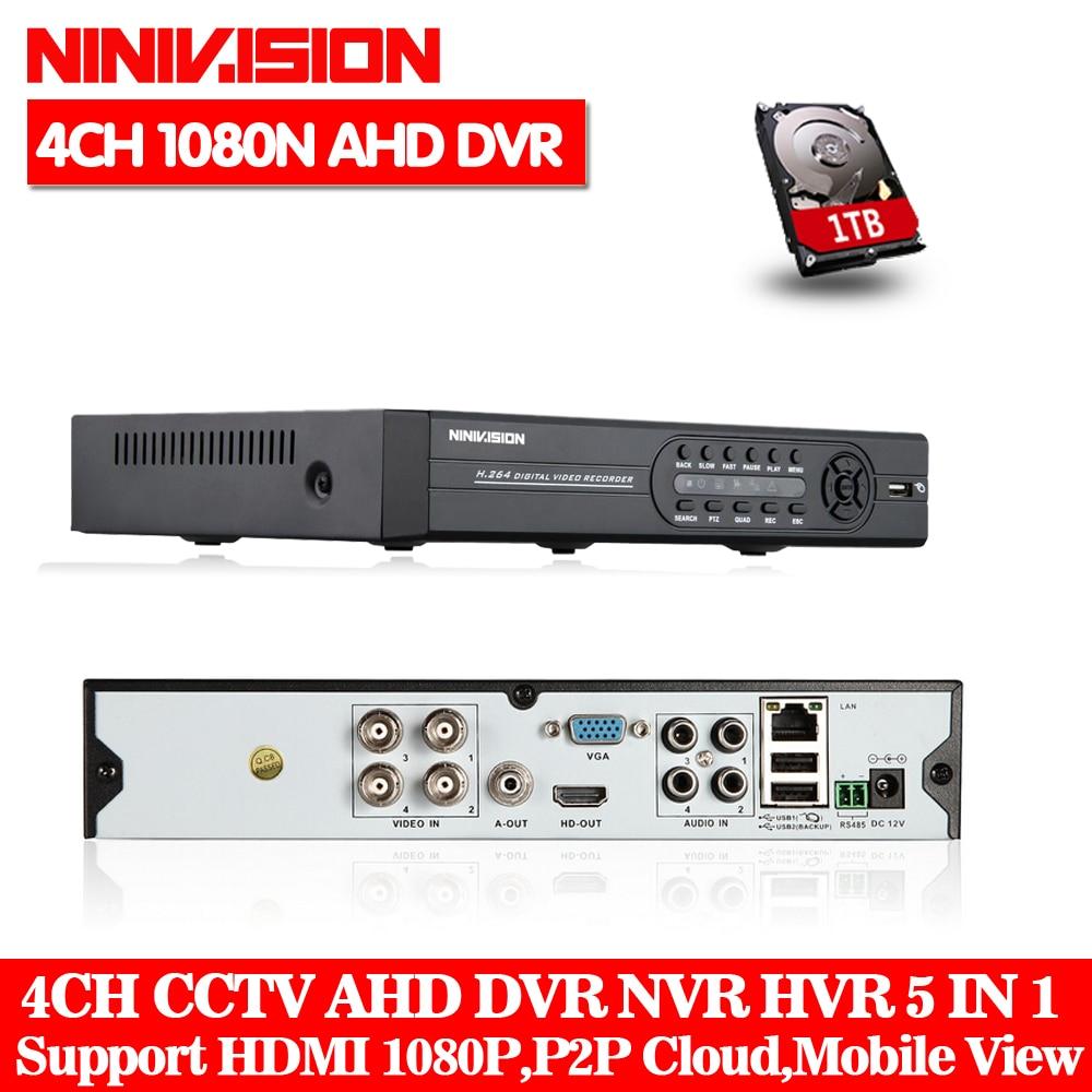 AHD-NH DVR 4 channel HDMI 1080P 960P 720P 4ch Hybrid AHD DVR HVR NVR Onvif for security ip camera P2P function CCTV DVR Recorder