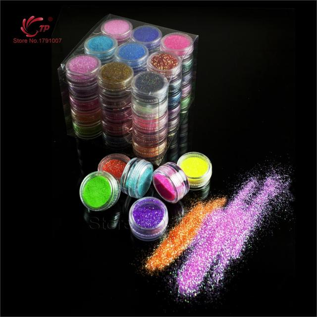 Brillo del Arte Del clavo de 45 colores/lot 3D Nail Art Fine Brillo Glitter Powder Diseñador DIY Diseño de Uñas de Gel Polaco decoraciones Tool Kit