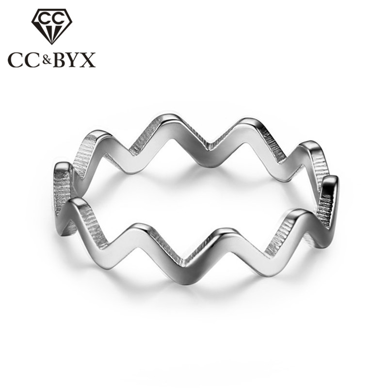 CC Stainless Steel Wave Rings For Women Simple Couple Ring Men Jewelry Anillos Elegant Bijoux Femme Size 6-8 CC1275b