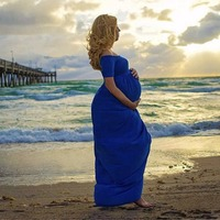 Puseky Maternity Dress Pregnancy Women Off Shoulder Short Sleeve Maxi Dress Photography Prop Party Gown Pregnant Lady Wear Suit