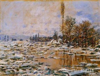 Landscape Paintings by Claude Monet Breakup of Ice Grey Weather Bedroom decor High quality