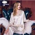 Mulheres De Cetim De Seda Pijamas Set Pijama Pijama Sleepwear Conjunto Loungewear Todas As Estações
