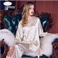 Para mujer de Satén de Seda Pajamas Set Pijama pijama Conjunto ropa de Dormir Loungewear Todas Las Estaciones