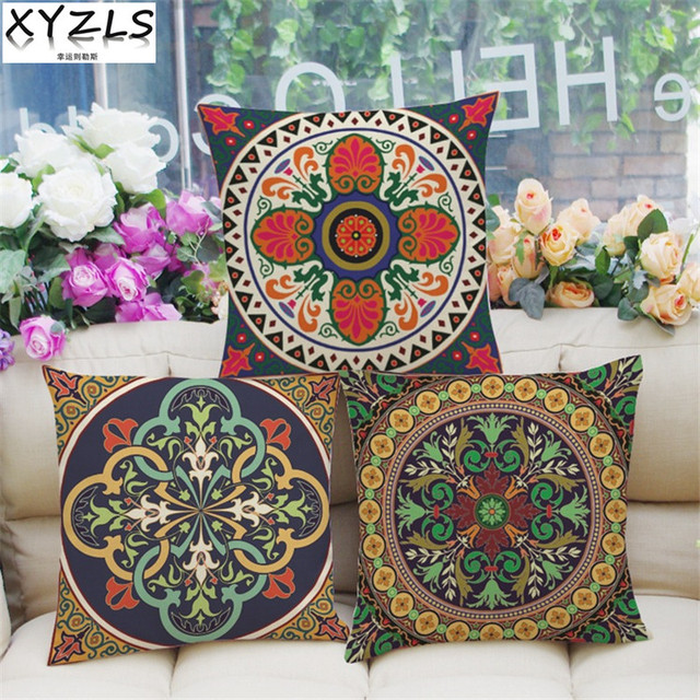 Great XYZLS 2Pcs/lot Chinese Ethnic Style Retro Patterns Sofa Cushion Covers  Linen Throw Pillow Case