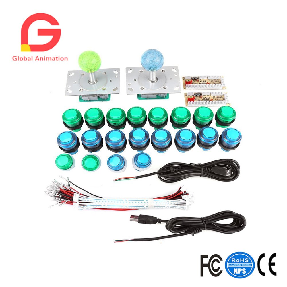 20 DIY LED Illuminated Arcade Game Buttons + 2 Arcade Joysticks + 2 USB Encoder Kit Game Parts Set for Arcade Games Machine arcade fighting game machine virtua fighter 5 games motherboard