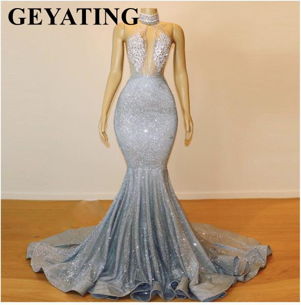 Sparkly Sequin Long Backless Silver   Prom     Dresses   Mermaid High Neck African Formal Evening Gowns Black Girl Graduation Gala   Dress