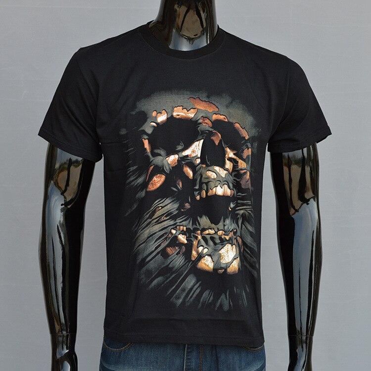 2017 Hot sale Europe 3D Skull head Printed T-shirt Men's Summer Fashion O-Neck Short Sleeve T-shirt Tops Soft DYFZ-J1096