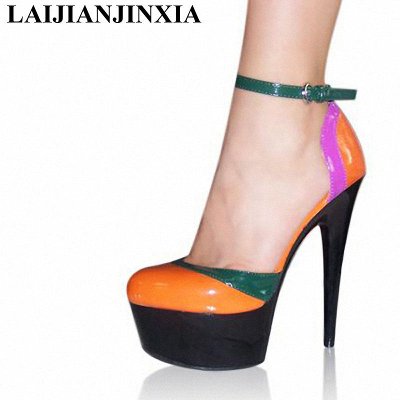 5a9122583052 LAIJIANJINXIA New Pumps 6 Inch High Heel Shoes 15cm Lady Party Heels  Strappy Exotic Shoes Multi Colored Sexy Clubbing ...