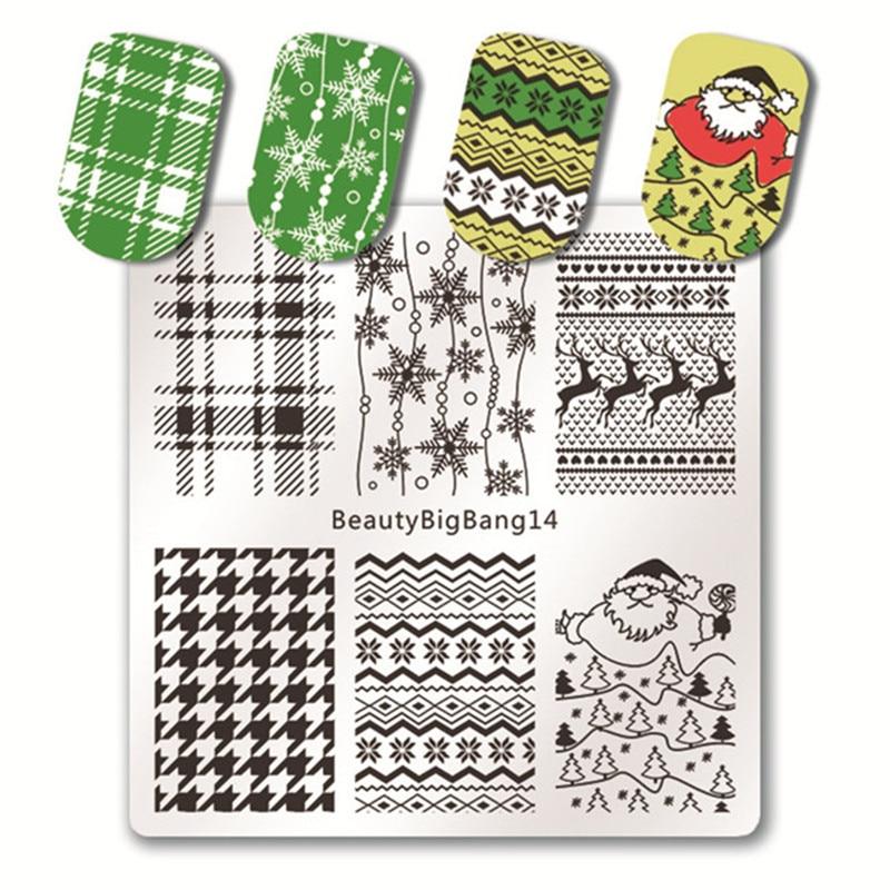 beautybigbang 5 stcke nagel stanzen platten set neue 2018 weihnachten schneemann muster nagel design nail art stempel fr ngel vorlage - Muster Fur Nagel