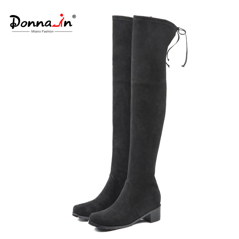 Donna-in 2018 Autumn New Arrive Over The Knee Boots Women Long High Boots Female Square Heel Round Toe Microfiber Ladies Shoes wetkiss new holed denim over the knee women boots round toe high heel footwear ripped sewing square heel ladies stretch boots