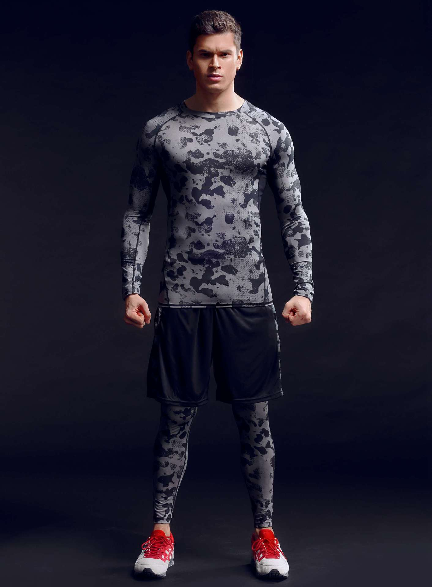 2017 camouflage 3pcs/set Men's Sport Running Suits Quick Dry Basketball Soccer Training Tracksuits Men Gym Clothing Sets 2017 compression 5pcs men fitness clothing sets quick dry sports running suit hood basketball soccer gym training jogging suits