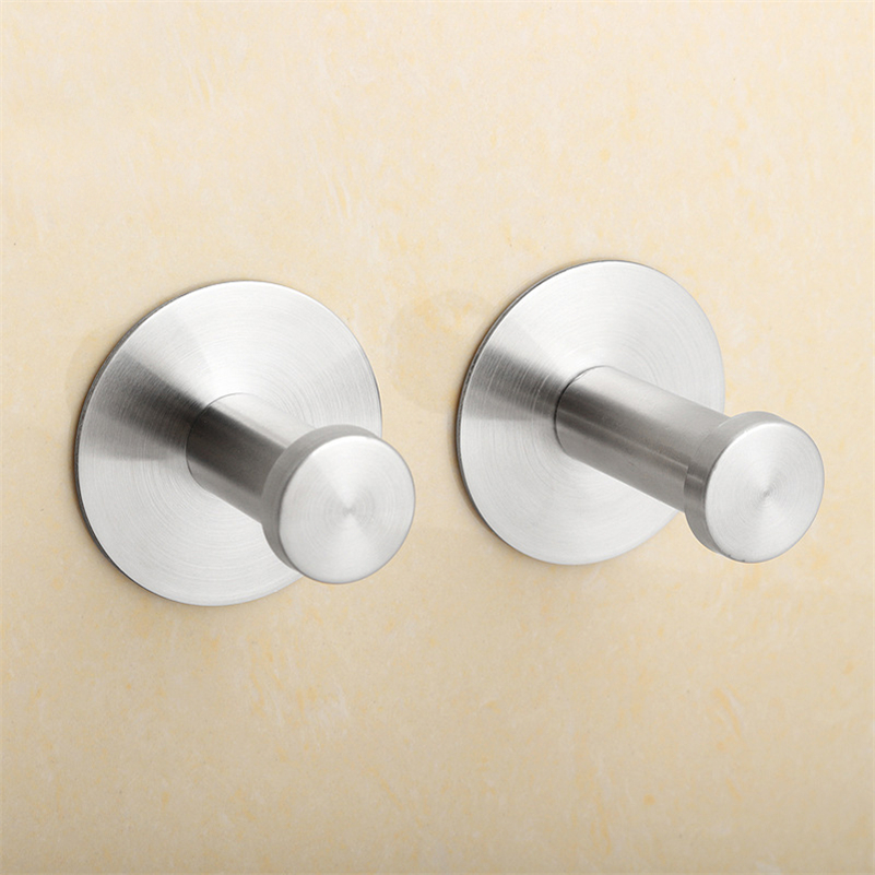 2Pc/Lot Stainless Steel Family Robe Hanging Hooks Hats Bag Key Adhesive Wall Hanger for Bathroom Kitchen