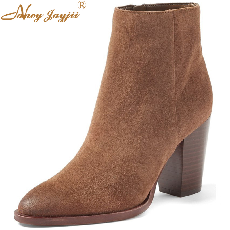 Handmade Brown Suede Ankle Boots Women High-Top Side Zipper Pointed Toe Short Boots High Square Heel Autumn Shoes Nancyjayjii brown suede leather pointed toe high