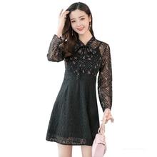 2018 bow tie black hollow out autumn dress Vintage Dress A-line Style Women Full Sleeve Flower Print Dresses Slim Feminino  88G3 цена и фото