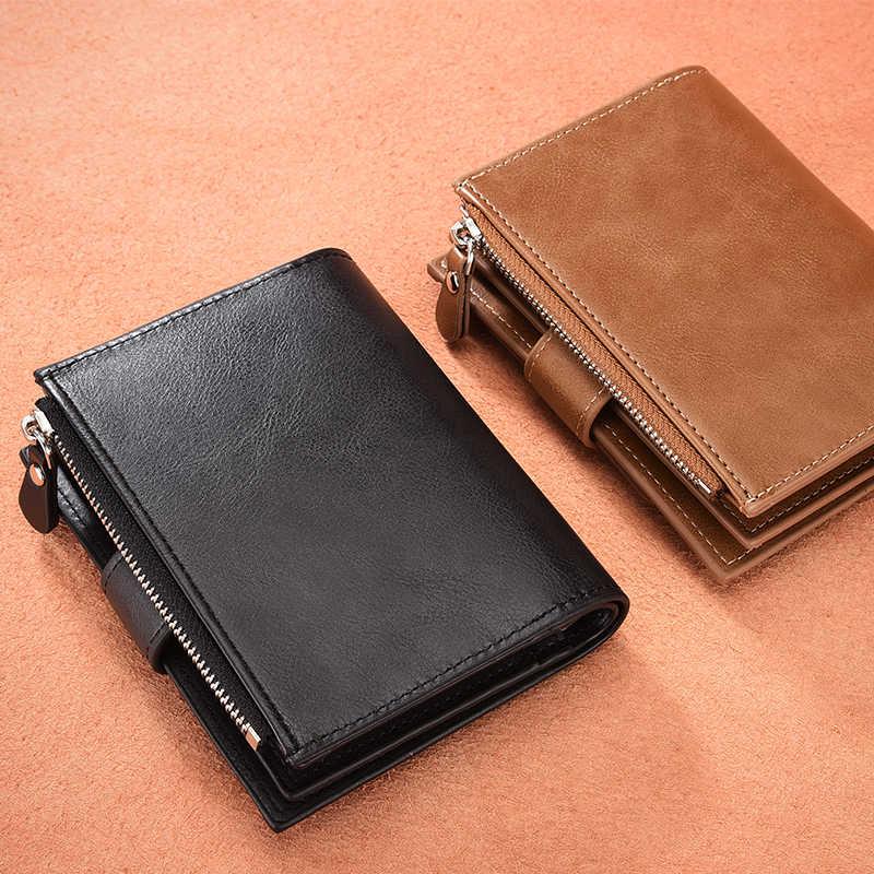 Cartera de marca DWTS para hombres, carteras de cuero para hombres, monedero corto para hombre, Cartera de cuero para hombre, bolsa de dinero, garantía de calidad