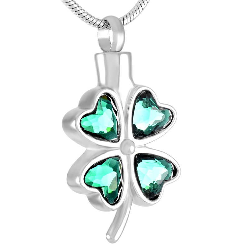 IJD8223 Never fade 316L stainless steel Crystal inaly Four Leaves Clover cremation jewelry necklace keepsake ash pendants