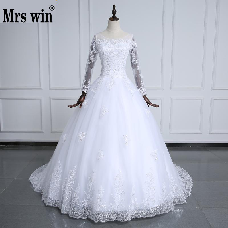 30 Exquisite Elegant Long Sleeved Wedding Dresses Chic: Vestidos De Noiva Pure White Elegant Beautiful Long Sleeve