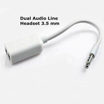 Dual Audio Line Headset 3 .5 Mm Jack Earphone Splitter 1 In 2 Couples Lovers Adapter For Iphone Mp3 Mp4 Portable Media Player portable media player