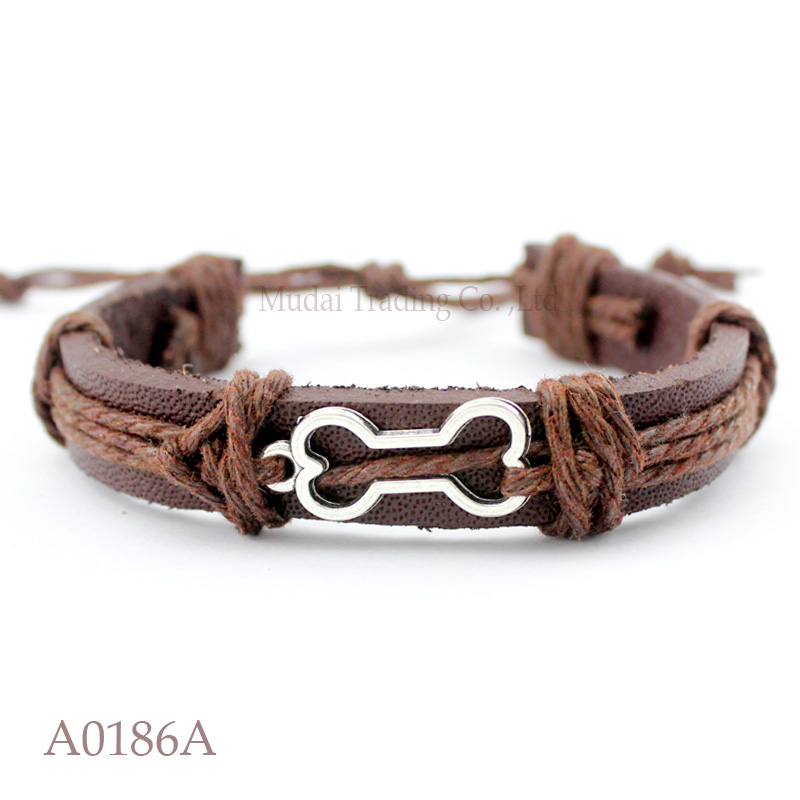 (10PCS/lot) ANTIQUE SILVER BONE CHARM Adjustable Leather Cuff Bracelet for DOG LOVER Friendship Casual Jewelry