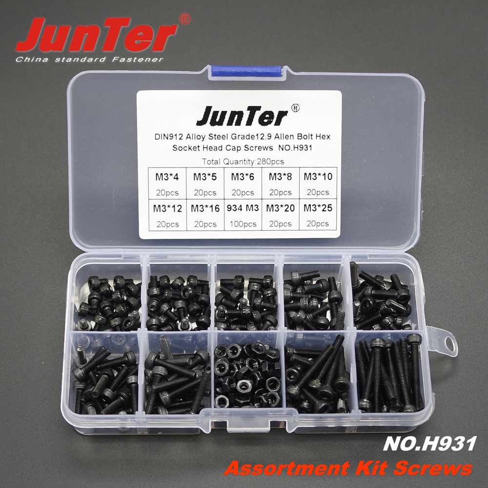 280pcs M3 (3mm) Alloy Steel Grade12.9 High Tensile Socket Cap Screws Allen Bolts DIN912 With Hex Nuts Assortment Kit NO.H931