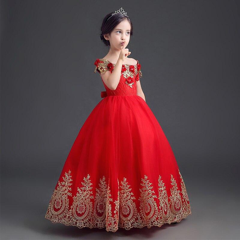 Luxo Strapless Red Beading Desempenho Da Menina de Flor Vestidos Crianças Crianças Primeiro Santo Ball Vestidos de Apliques Bordados de Fio de Ouro
