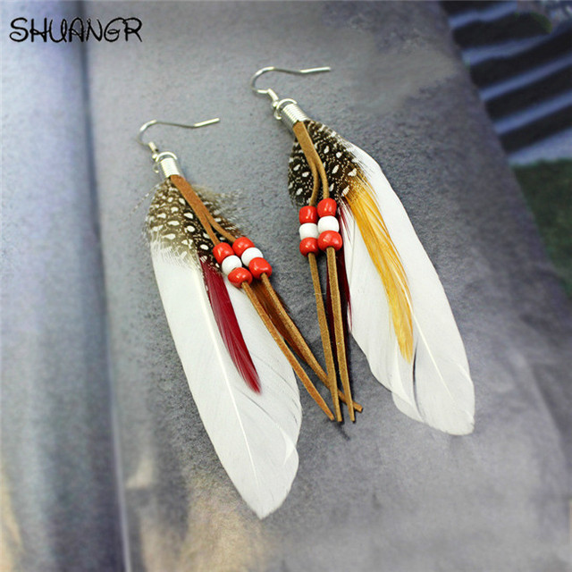 SHUANGR Hot sale Fashion Bohemia Charms Womens Vintage Dangle Earrings Exaggeration Feather Beads Big Drop Earring Jewelry 2017 1