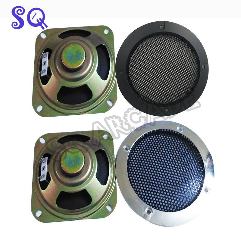 2pcs 4 Inch Silver Speaker Protective Grille Circle With Protective Black Iron Mesh DIY Decorative Diy Arcade Cabinet