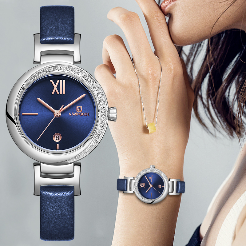 NAVIFORCE  Women Watch Top Brand Fashion Luxury Quartz Ladies Watches Girl Dress Date Clock Leather Montre Femme Reloj Mujer