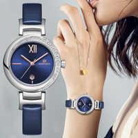 NAVIFORCE femmes Montre Top marque de mode de luxe Quartz dames montres fille robe Date horloge en cuir Montre Femme Reloj Mujer