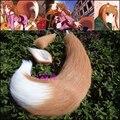 Dibujos animados Spice and Wolf Horo Cosplay lobo orejas de gato y cola diferente longitud hechos a mano Anime felpa apoyos Cosplay COS cola decoraciones