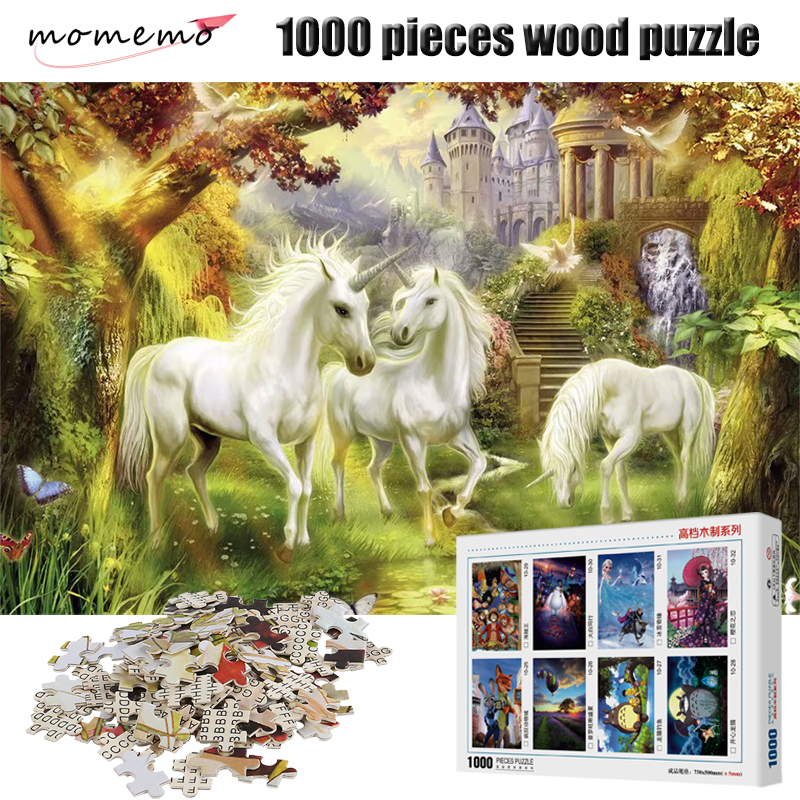 MOMEMO Unicorn Fairyland Jigsaw Puzzle 1000 Pieces Wooden Adult Puzzles Fantasy Children Toys Size 70*50cm