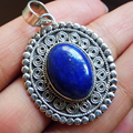 Nepal India silver handmade jewelry inlaid with Lapis Lazuli natural crystal precious retro carved pendants