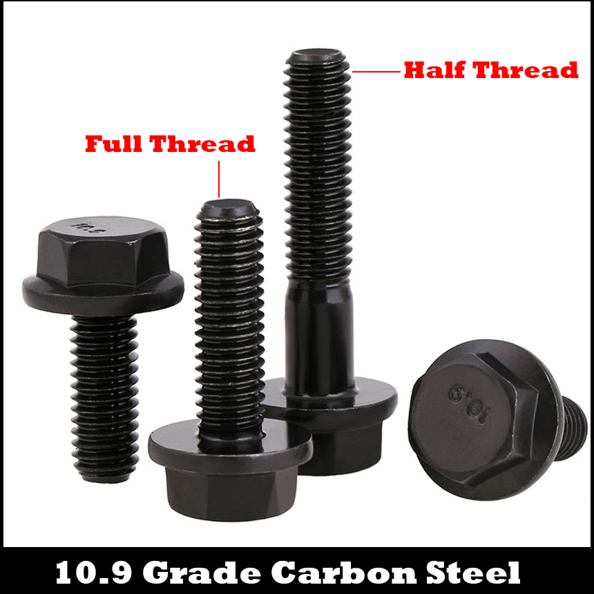 M6 M6*50 M6*55 M6*60 M6x50 M6x55 M6x60 10.9 Grade Black Carbon Steel GB5789 Screw Half Thread External Hex Hexagon Flange Bolt 6