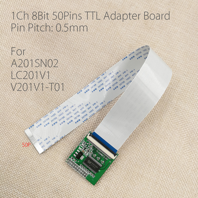 For A201SN02 LC201V1 V201V1 T01 LVDS Turn TTL Adapter Plate 0.5mm 50 Pin FFC FPC LVDS Conversion board For v290 v56 LCD Controll